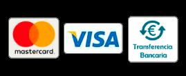 Mastercard, Visa, Paypal, Transferencia bancaria
